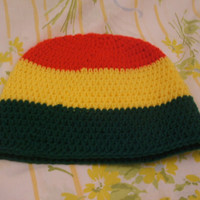 Holiday Special Crocheted Red, Yellow, & Green Striped Beanie Teen Hat Ready to ship
