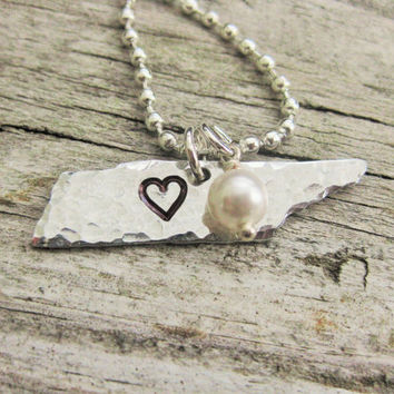 Hand Stamped Tennessee Necklace with Heart Hand Stamped Over Nashville/Choose your city