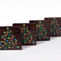 Hand Painted Christmas Coasters: Stylized Christmas Trees