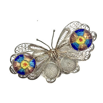 Spun Silver Filigree Plaque a Jour Butterfly Brooch, Stunning Multi-Color Enamel Disc Accent, Gold Wash, Hand Crafted, Vintage Statement Pin
