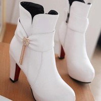 New Women White Round Toe Chunky Rhinestone Bow Fashion Ankle Boots