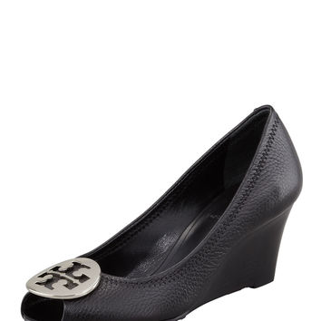 Sally 2 Leather Wedge Pump, Black/Silver - Tory Burch