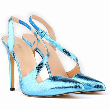 New Summer Sandals Women Peep Toe Thin High Heel Sandals With Crocodile Pattern Sweet Style Woman Shoes For Lady Size Plus 35-43