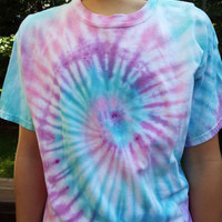 Pastel Tie Dye Swirl, Adult Large Tie Dye Shirt, Tie Dye Tshirt, Hippie Clothing, Retro Tee, Boho Party, 60s Tee, Easter Colors, Mens Pastel