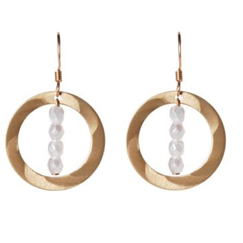Gold Medium Open Disc with Beaded Drop Earrings