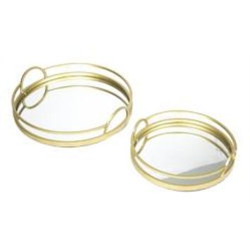 Stylish Mirrored Trays, Gold, Set Of 2