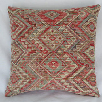 "Orange and Aqua Southwest Pillow Cover, 17"" Sq Chenille Tapestry, Geometric Diamonds, Coral, Faded Blue, Tan, Cream"