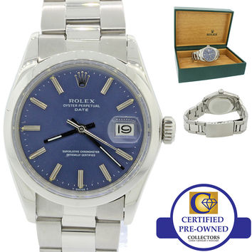 Vintage Rolex Date 1500 Steel Blue Dial 34mm Oyster Perpetual Watch w/ Box