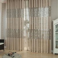 Ventilated Hollow French Window Curtains Leaves Plants Print Jacquard Curtains for Home Decorations Living Rooms Bedrooms