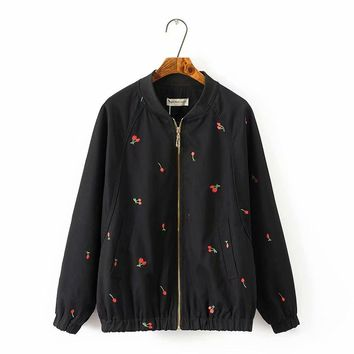 Plus size black & light green mandarin collar cotton women basic coats 2018 spring autumn Embroidered bomber jacket women 5XL