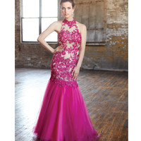 Madison James 15-119 Fuchsia Embroidered Open Back Halter Mermaid Gown Prom 2015