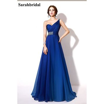 Sexy Charming Prom Dresses pageant dresses girls 2017 with A Line One Shoulder Sexy Back Chiffon Beaded Bridesmaid Dresses TZ008
