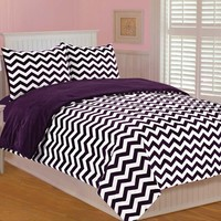 Thro by Marlo Lorenz 5645 Chevron Printed 86 by 86-Inch Microplush Bedding Set, Full/Queen, Plum/Purple/White