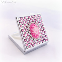Pink rose cameo rhinestone pill box, romantic gift, decoden case, bling jewelry box