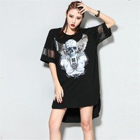 Street Fashion Hip-Hop girls Summer Dress Sequin Skull printing loose personality Rivet Casual Womens Dresses Plus Size vestidos
