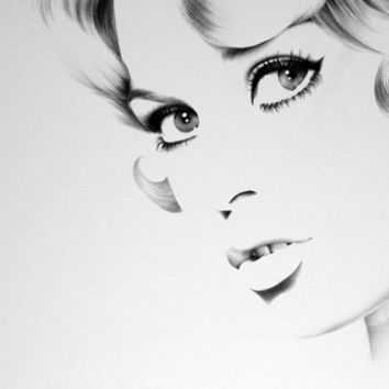Brigitte Bardot  Pencil Drawing Fine Art Portrait Print Hand Signed by Artist