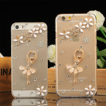 luxury bling flower ballet girl cell phone rhinestone case cover for iPhone 5S 5C SE 6 6S 7 plus high transparent TPU soft case