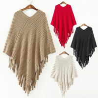 Warm Women Knit Batwing Cape Tassels Poncho Cloak Jacket Coat Outwear Hot Sale W_C