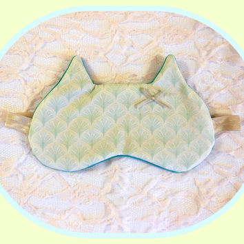 Cat Sleep Mask - Vintage Cream Shells - Green Super Soft Terry Cloth - Cotton - Eye Cover - Kitty Ears - Satin Bow - Women - Girl