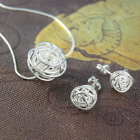 Silver Nest Necklace And Earring Jewellery Gift Set