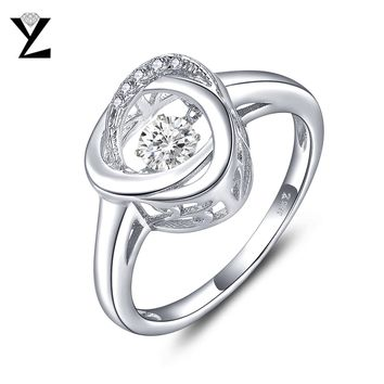 YL Silver 925 Sterling Engagement Rings Fine Jewelry Argent Wedding Band Fashion Rings for Women 2017 Dancing Natural Stone Ring