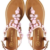 River Island Really Pink Gem Flat Sandals