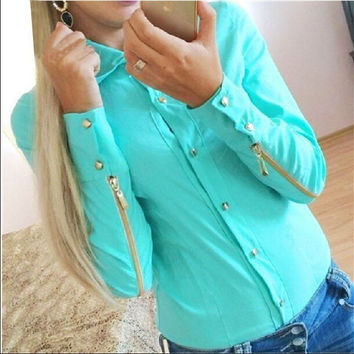 Rivet Double Zipper Turn-down Collar Slim Blouse