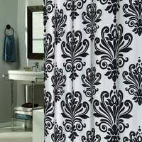 elegant Design Black White Fabric Shower curtain w/ Built in Flat Top Rings