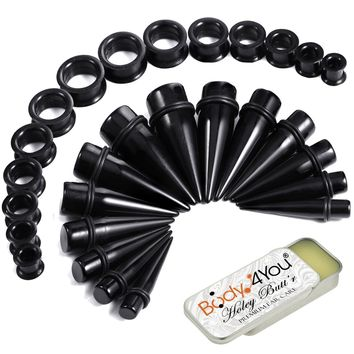 BodyJ4You 29PC Big Gauges Kit Ear Stretching Aftercare Balm 00G-22mm Acrylic Taper Silicone Tunnel