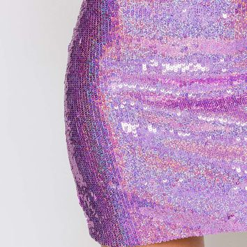 **Pink Hologram Sequin Mini Skirt by Jaded London - Skirts - Clothing