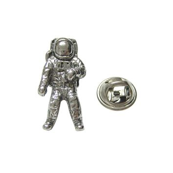 Silver Toned Textured Space Astronaut Lapel Pin