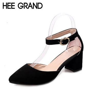 HEE GRAND Summer Pumps Shoes Flock Pointed Toe Mary Janes High Heels Casual Autumn Ele