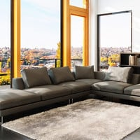 Modern Upholstered Leather Sectional Sofa, Grey