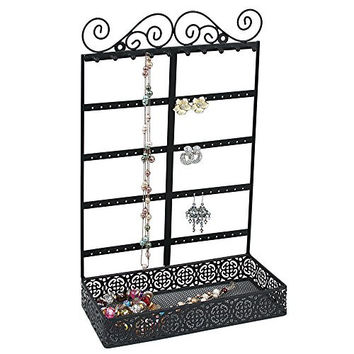 Vintage Style Handmade Metal Earring Necklace Bracelet Jewelry Display Tower Tree Rack