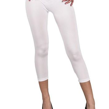 Seamless Capri Leggings SG-27/By Soho Lady - White, One Size  Regular Fits
