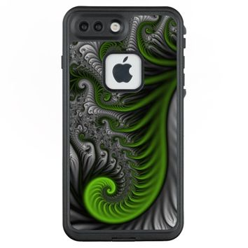 Fantasy World Green And Gray Abstract Fractal Art LifeProof® FRĒ® iPhone 7 Plus Case