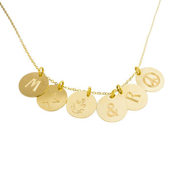 Engraved Disk Necklace - Personalized pendant, Gold disc necklace, Initial necklace, Engraved tag, Mom necklace, Circle necklace