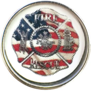 Thin Red Line Fire Department Badge With USA Flag For Firefighters 18MM - 20MM Snap Charm New Item
