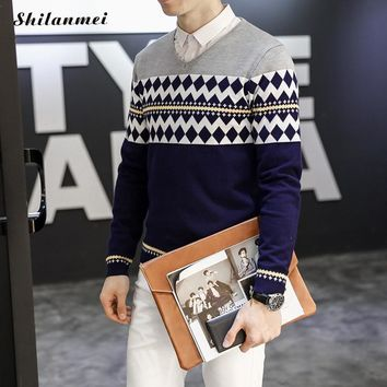 Fashion Patchwork Diamond Pattern Knitted Winter Mens Pullove Knitted Sweater Casual Mens Sweaters And Pullovers