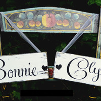 Wedding Sign Chair Hangers Wedding Decor Rustic Signs Bride Groom Partners In Crime Bonnie Clyde Reception Photos Ideas Unique Wood Barn