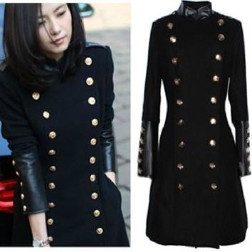 Winter New Arrival Woolen Outerwear Women'S Military Wind Wool Coat Cool Trench Winter Wear