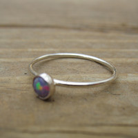 Sterling Silver 38 Opal Stacking Ring