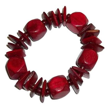 Vintage Statement Deep Red Wooden Tribal Beaded Stretch Bracelet (S-M)
