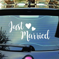 Just Married Car Decal Quote Sticker Wall Vinyl Art Decor Husband Wife Newly Wed Marriage Love Cute Beautiful Wedding Hearts