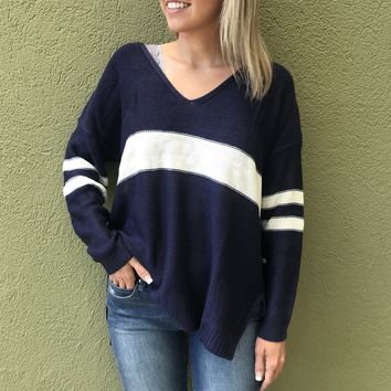 Seeing Stripes Sweater Top - Navy