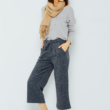 Oversized Dark Gray Trousers with Belt