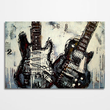 Guitar painting Music art Les Paul Gift for musician Original textured industrial distressed blue brown white guitar wall art on canvas