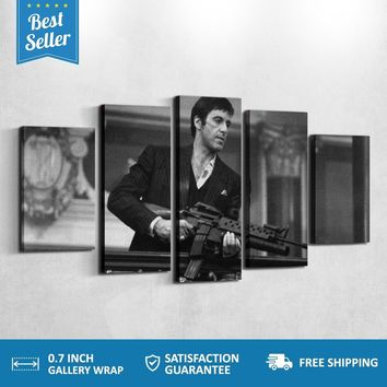 Scarface Tony Black and White Five Piece Canvas