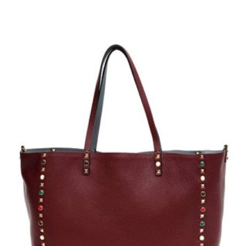 VALENTINO Rockstud reversible embellished large leather tote