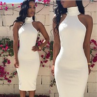 Formal Office White Dress Women Ladies Summer Bodycon Elegant Party Sexy Halter Pencil Dress Knee-Length Women Clothes